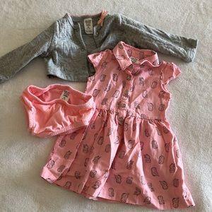 Carter's 3-piece dress and cardigan set